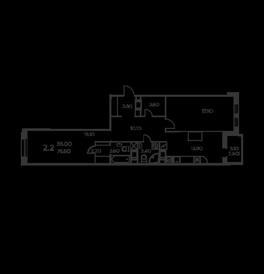 Планировка Двухкомнатная квартира площадью 76.6 кв.м в ЖК «Коломяги ЭКО»