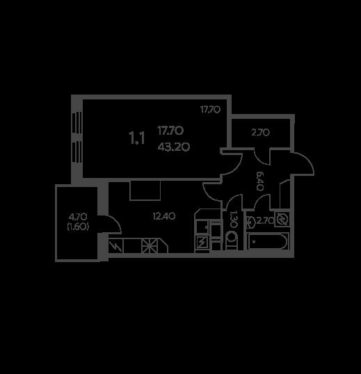 Планировка Однокомнатная квартира площадью 43.2 кв.м в ЖК «Коломяги ЭКО»