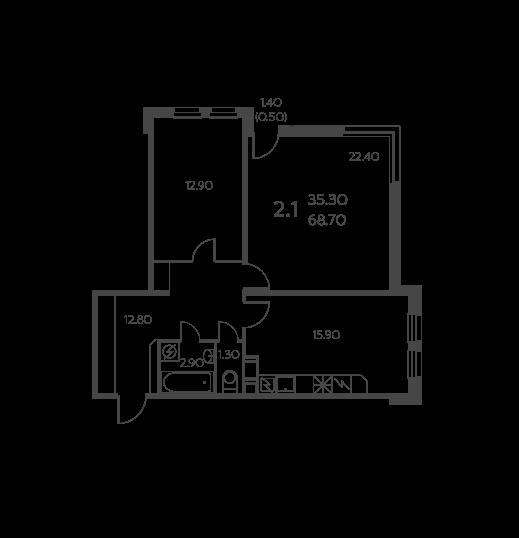 Планировка Двухкомнатная квартира площадью 68.7 кв.м в ЖК «Коломяги ЭКО»