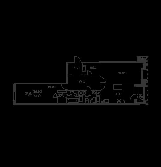 Планировка Трёхкомнатная квартира площадью 77.1 кв.м в ЖК «Коломяги ЭКО»